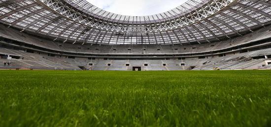 """▲俄罗斯世界杯揭幕战,卢日尼基球场就采用了含有5%人工草成分的""""混合草皮"""""""